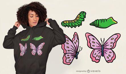 Diseño de camiseta de ciclo de vida de mariposa.