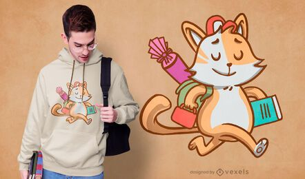Student Schule Katze T-Shirt Design