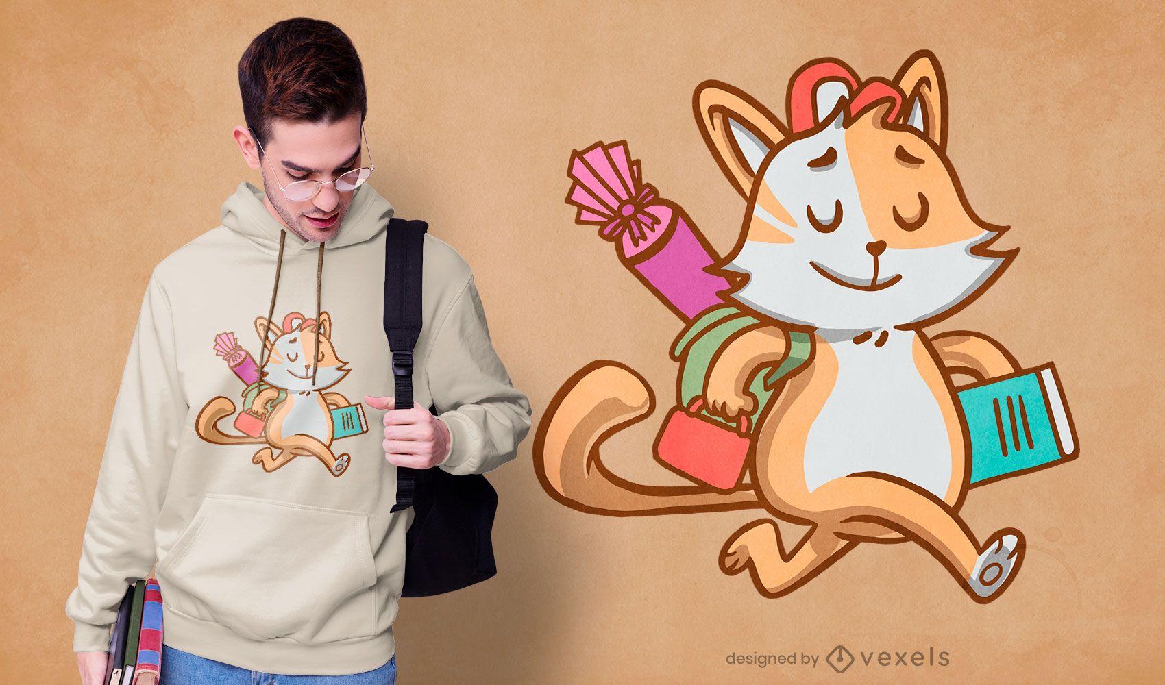 Diseño de camiseta de gato de la escuela del estudiante.