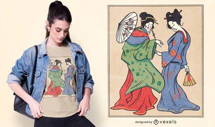 Diseño de camiseta de geishas japonesas caminando.