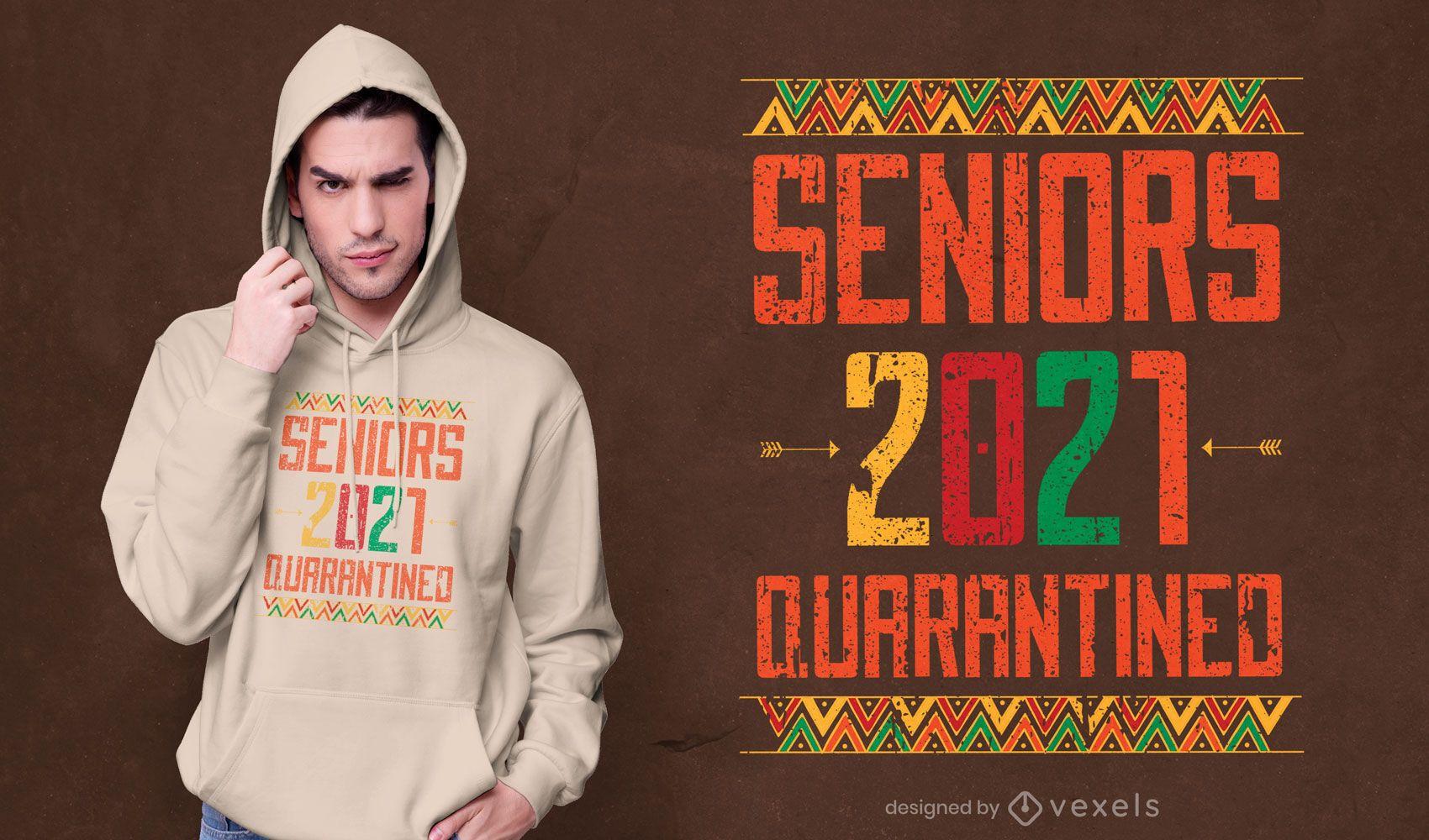 Diseño de camiseta con cita de graduación en cuarentena