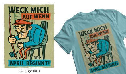 Diseño de camiseta alemana de pescador soñoliento.