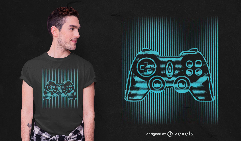 Diseño de camiseta de ilusión óptica de joystick.
