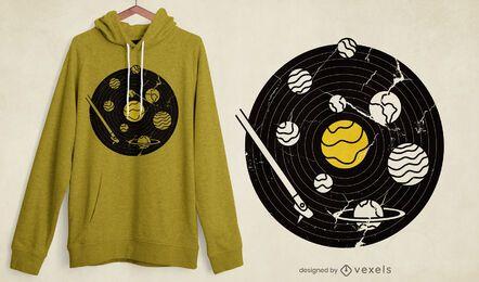 Design de t-shirt de disco de vinil para sistema solar