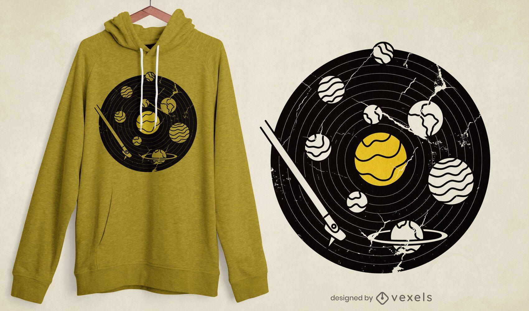 Diseño de camiseta de disco de vinilo del sistema solar.