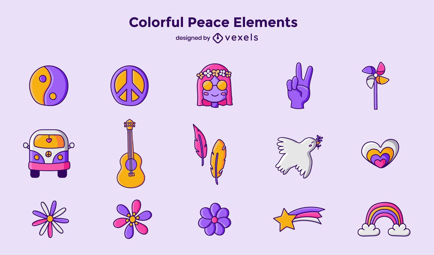 Conjunto de elementos de paz colorido