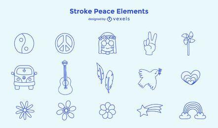 Conjunto de elementos de paz de traço