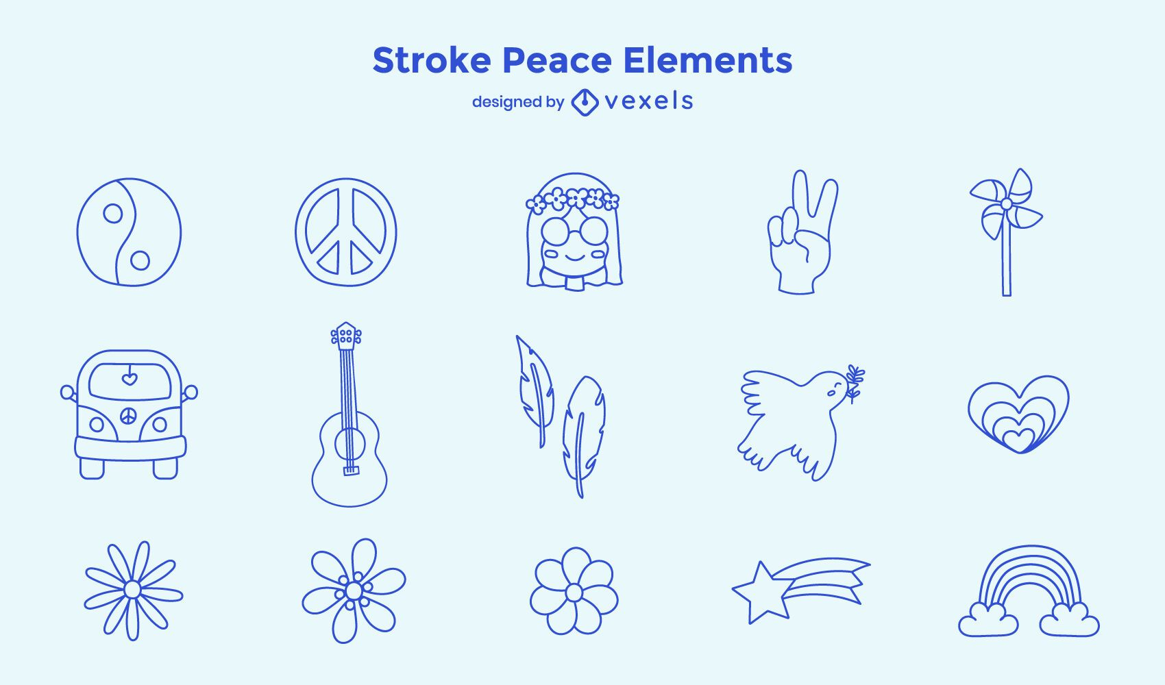 Conjunto de elementos de paz de trazo