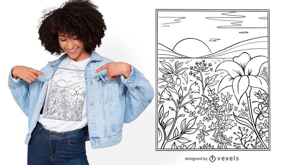 Diseño de camiseta de pradera floral line art