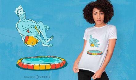 Design de t-shirt com ilustração de homem-bomba na piscina