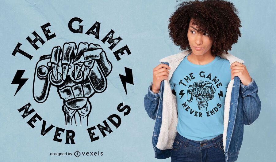 Design engraçado de t-shirt com citações de jogos