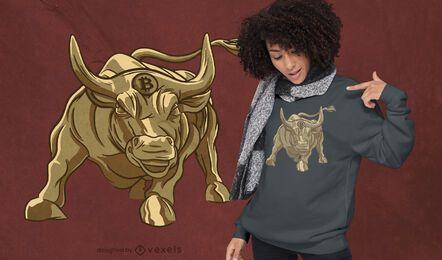 Diseño de camiseta de toro bitcoin dorado