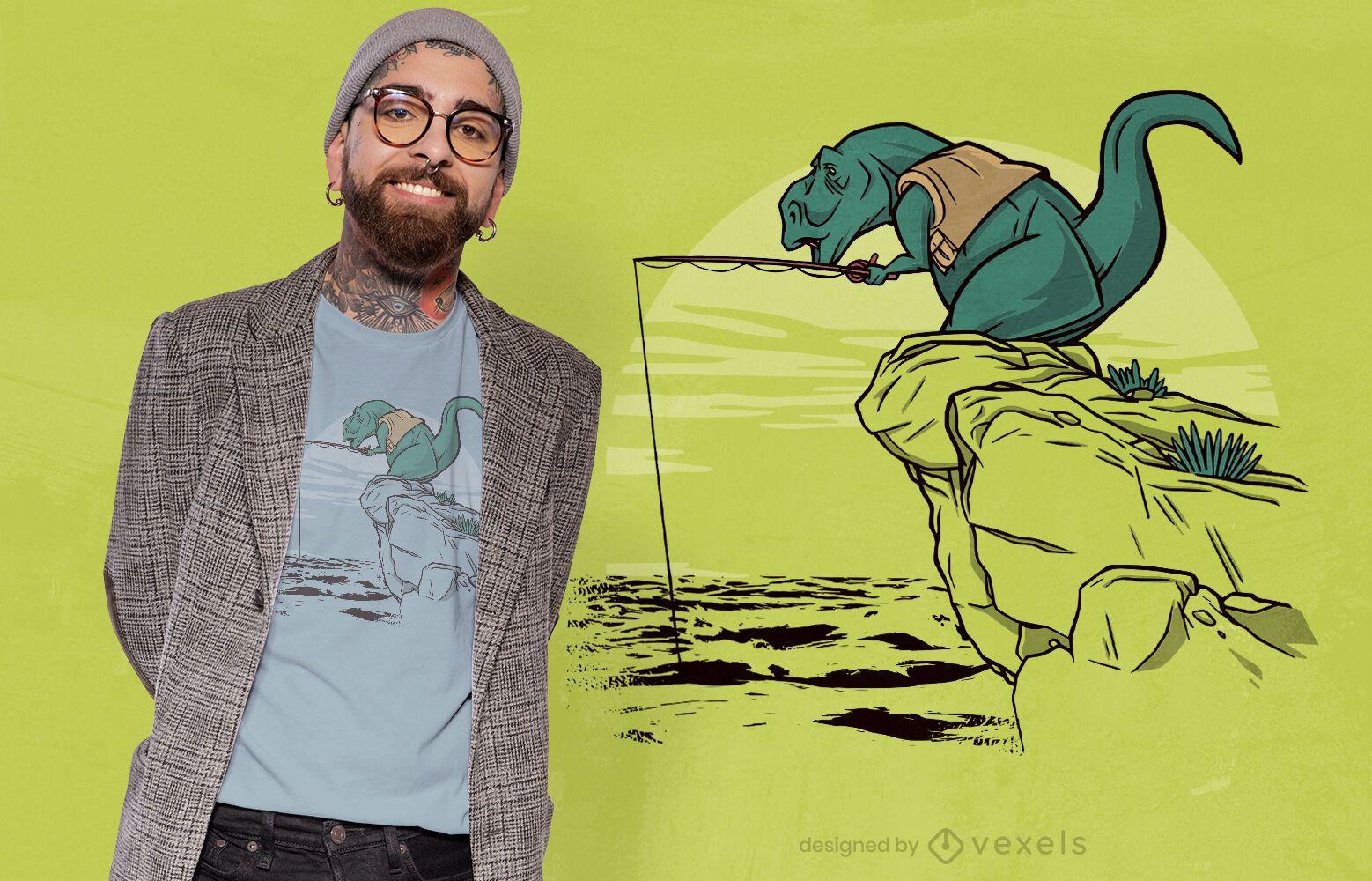 T-rex fishing cliff t-shirt design