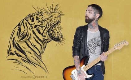 Diseño de camiseta dibujada a mano con cabeza de tigre enojado