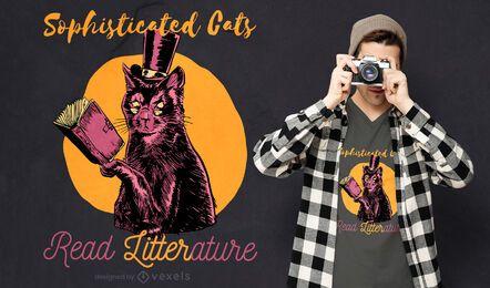 Diseño de camiseta de cita de literatura de gato elegante