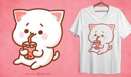 Design de t-shirt de chá de bolhas de gato Kawaii
