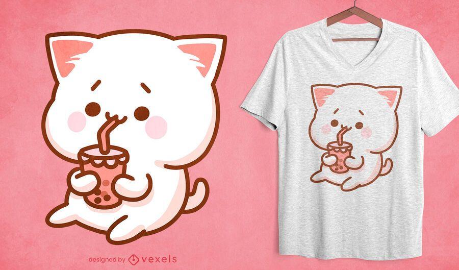 Kawaii cat bubble tea t-shirt design