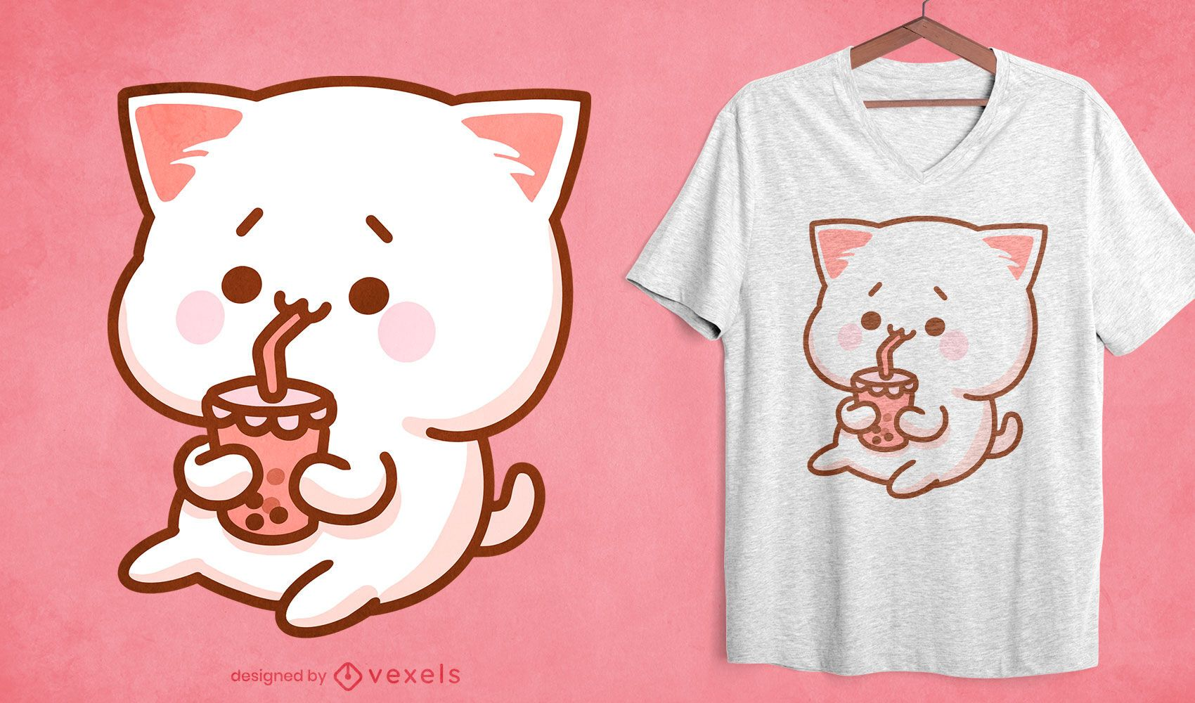 Diseño de camiseta kawaii cat bubble tea