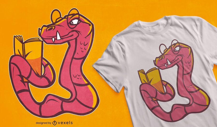 Diseño de camiseta de dibujos animados de serpiente de lectura