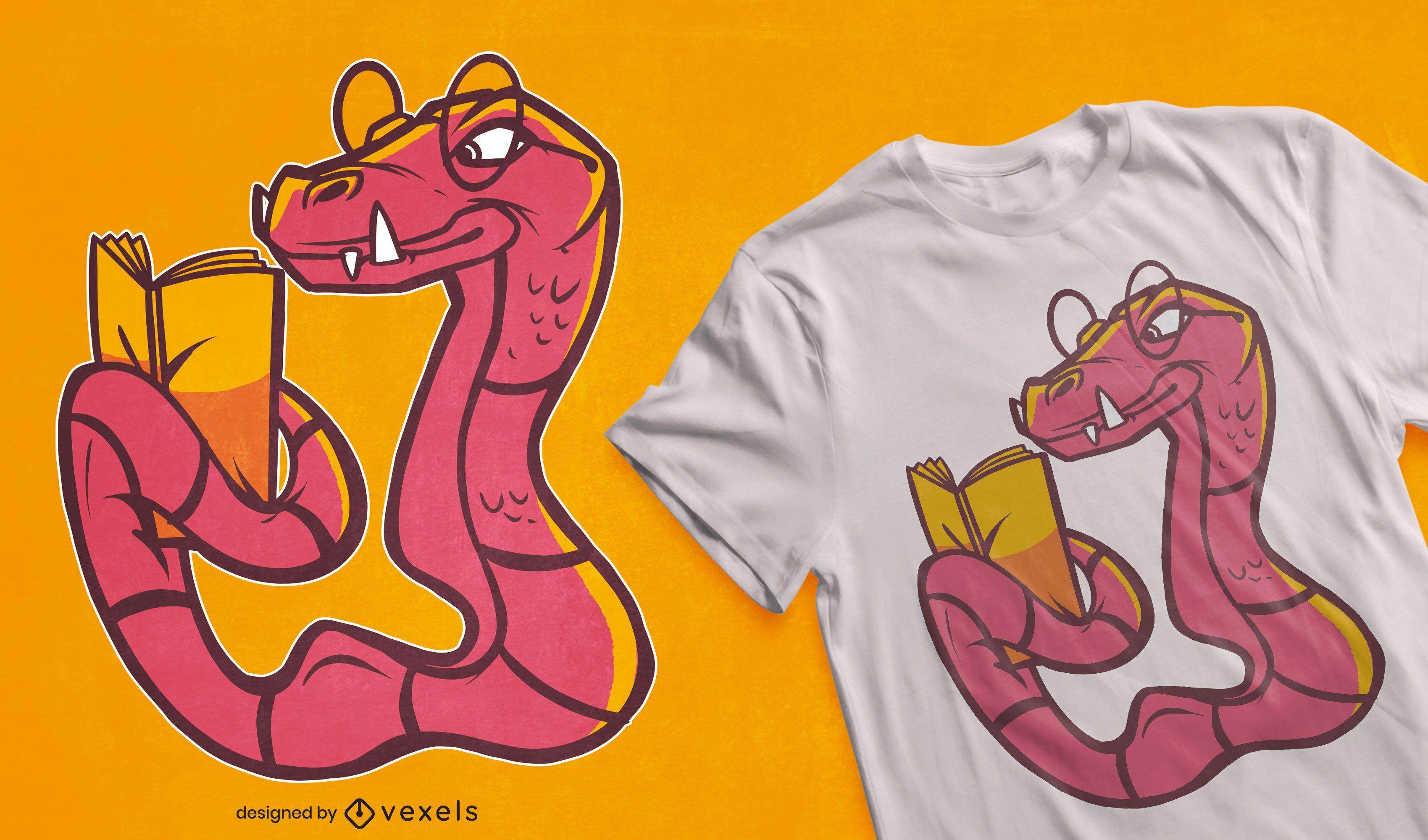 Dise?o de camiseta de dibujos animados de serpiente de lectura