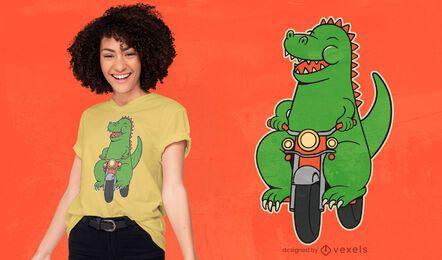 Desenho de t-shirt de desenho animado de dinossauro para motociclistas