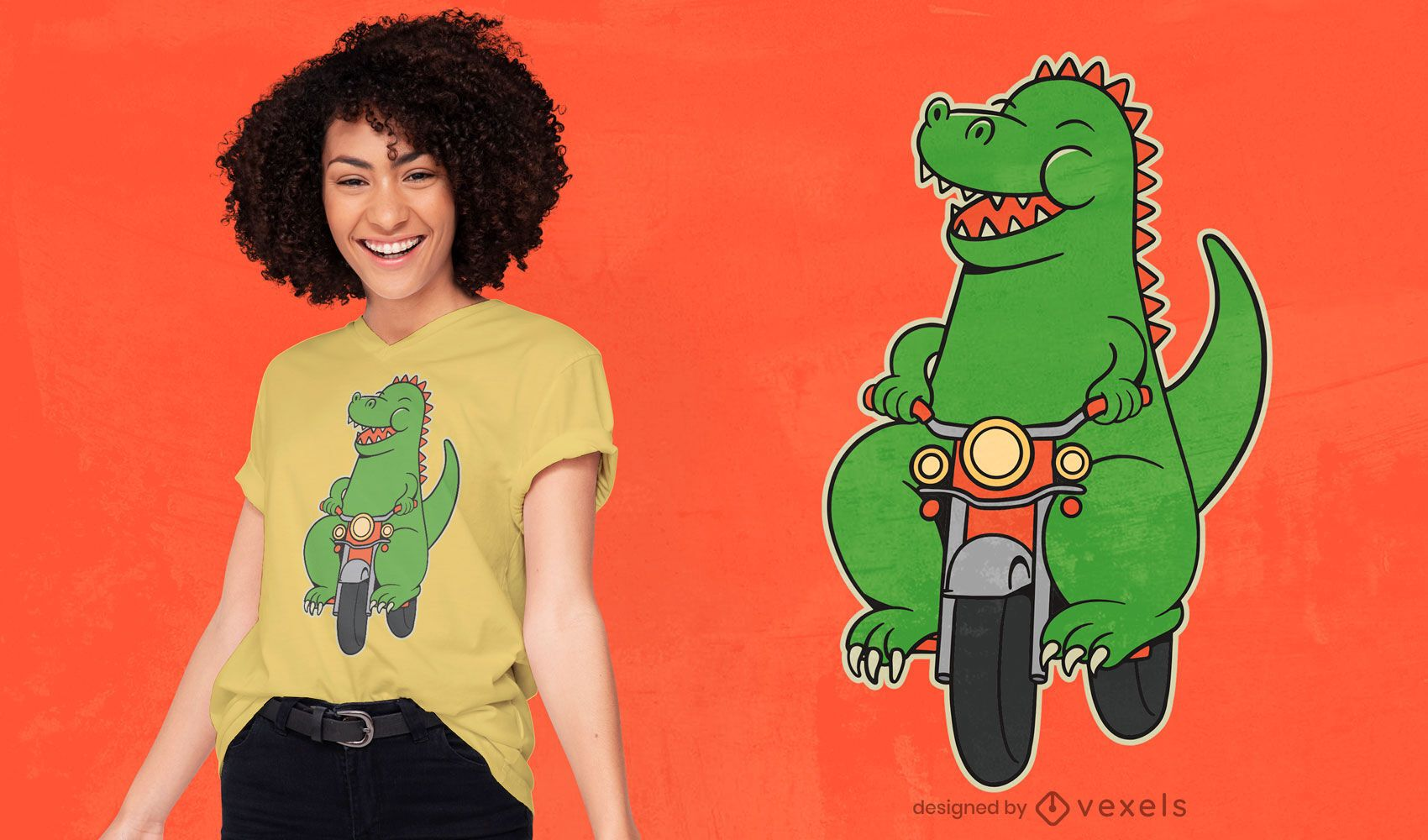 Diseño de camiseta de dibujos animados de dinosaurio motorista