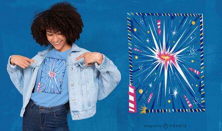 Diseño de camiseta de explosión de fuegos artificiales.