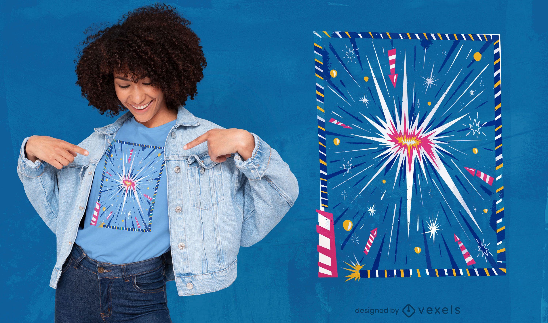 Design de camiseta de explosão de fogos de artifício
