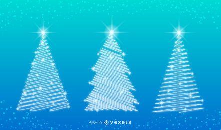 Xmas árbol ilustraciones con nieve