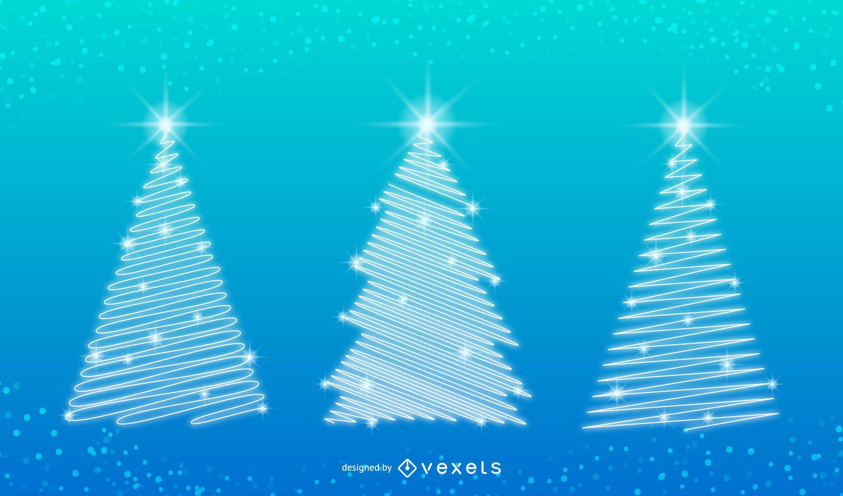 Xmas tree illustrations with snow