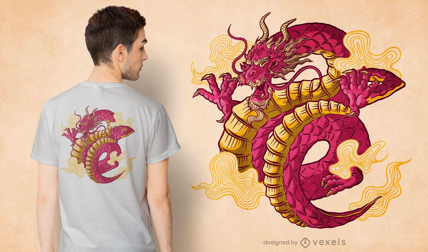 Diseño de camiseta de criatura dragón chino.