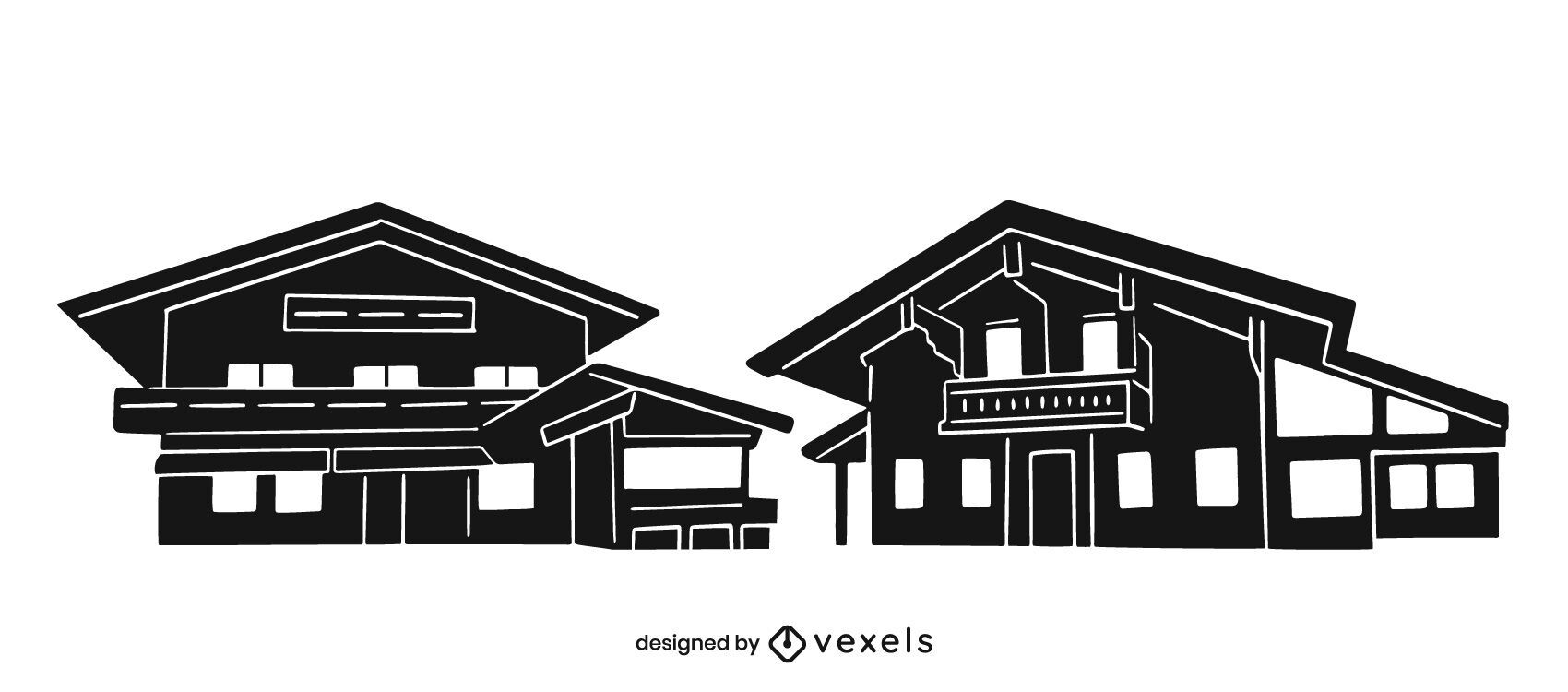 House huts cut-out silhouette set