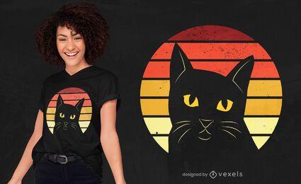Diseño de camiseta retro puesta de sol gato negro