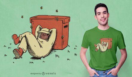 Desenho de t-shirt de apicultor feliz