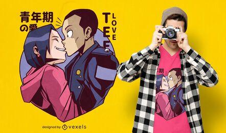 Playful anime couple t-shirt design