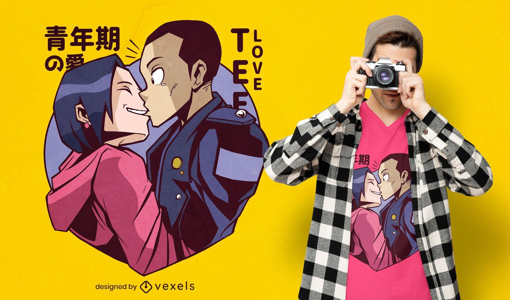 Diseño de camiseta de pareja de anime juguetón.