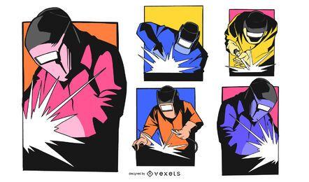 Conjunto de quadrinhos de soldador