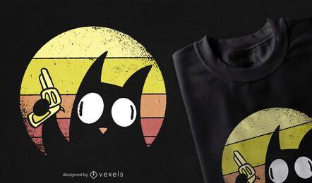 Design retro de t-shirt de gato maluco por do sol