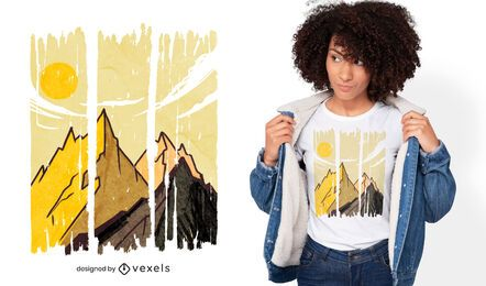 Diseño de camiseta de trazos de paisaje de montaña.