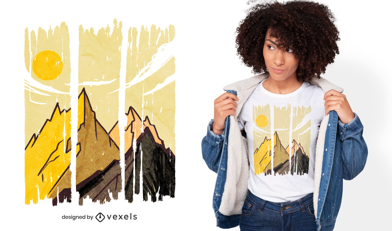 Mountain landscape strokes t-shirt design