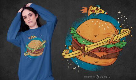 Diseño de camiseta burger planet