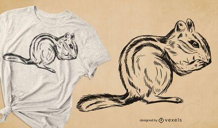 Diseño de camiseta de ardilla dibujada a mano
