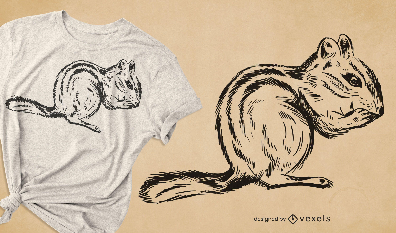 Hand drawn chipmunk t-shirt design