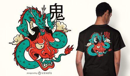 Diseño de camiseta oni mask dragon