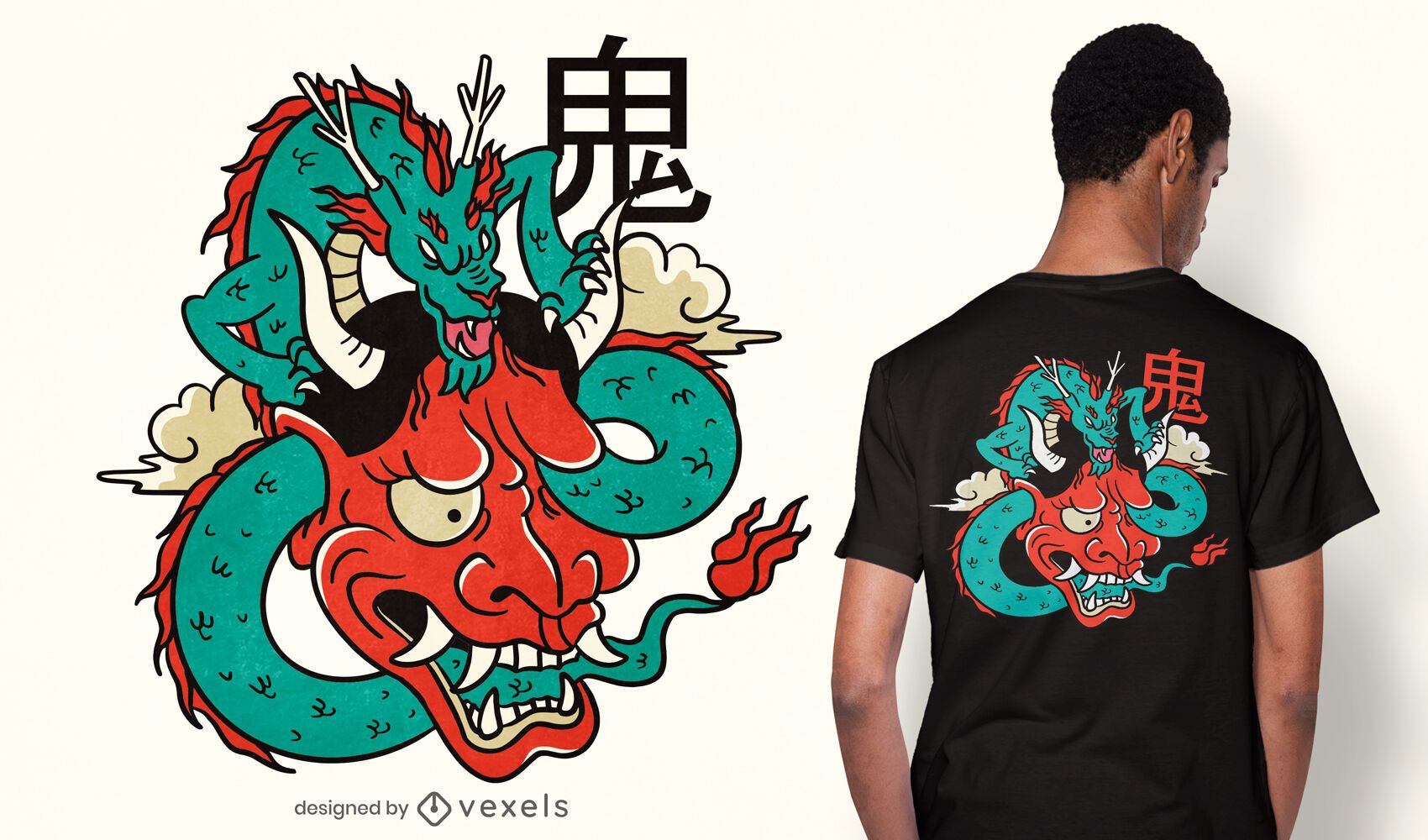 Design de camiseta dragão máscara Oni