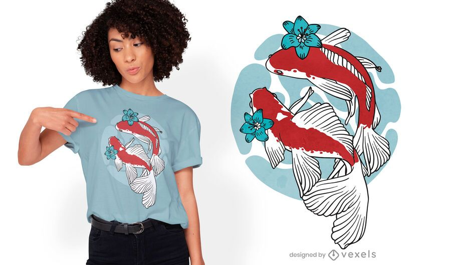 Koi fish swimming t-shirt design