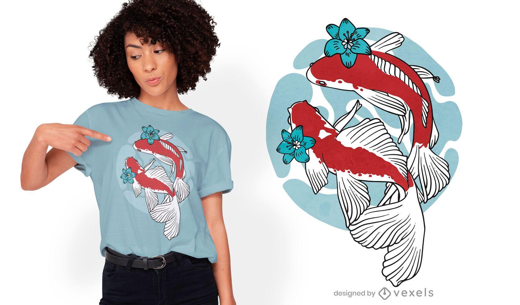 Koi fish swimming t-shirt design