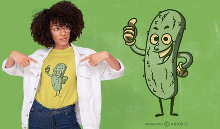 Pickle cartoon thumbs-up t-shirt design