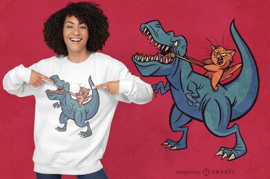 Diseño de camiseta cat riding t-rex warriors