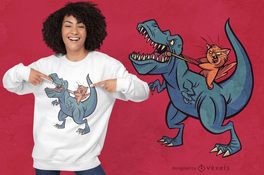 Cat riding t-rex warriors t-shirt design